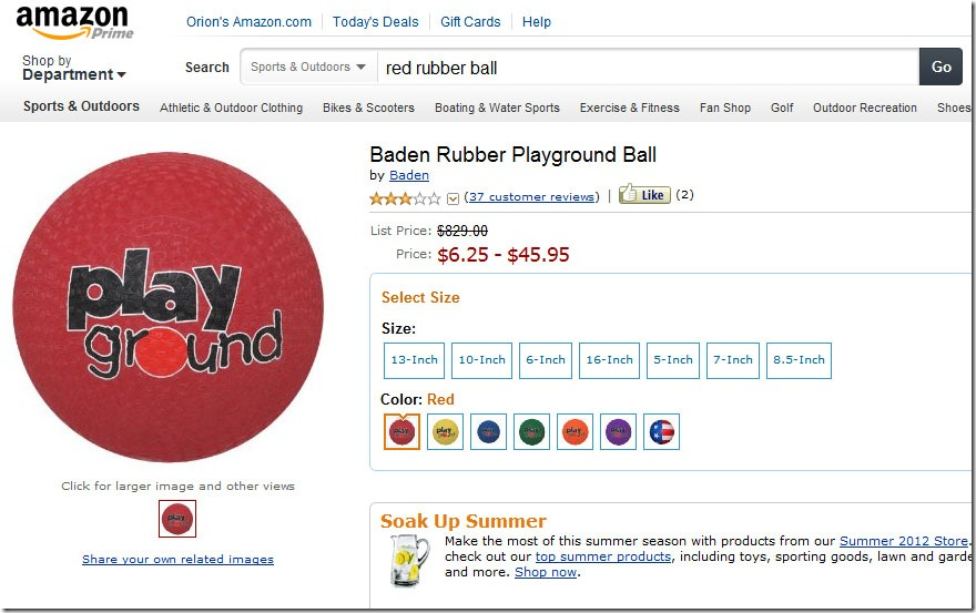 red rubber ball amazon