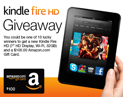 FireHDSweepstakes Kindle Fire HD & $100 Amazon Gift Card Giveaway
